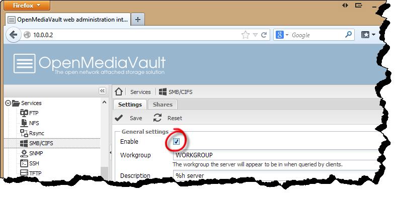 Awasu » Configuring Open Media Vault
